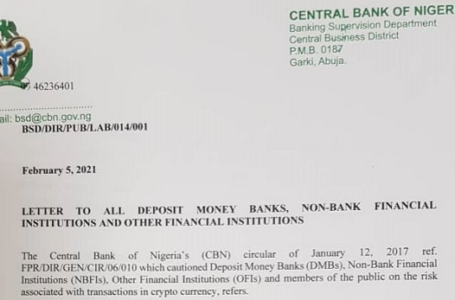 Nijerya merkez bankası, ülkenin finans kurumlarına kripto borsalarına bağlı hesapları kapatmalarını söyledi