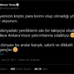 Ankara Büyükşehir Belediye Başkanı Yavaş: Kripto dünyası bu aralar karışık